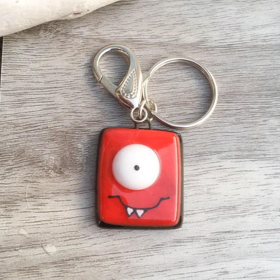 Colorful Keychain funny monster, handmade fused glass , accessories , back-pack charm, key holder , colorful monster, fused glass keyring