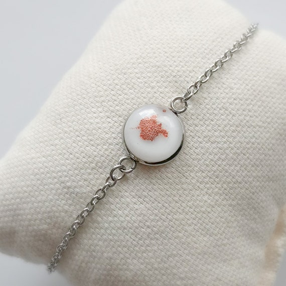 Chain bracelet and fused glass, jewelry for woman, fused glass on rose gold color  chain.