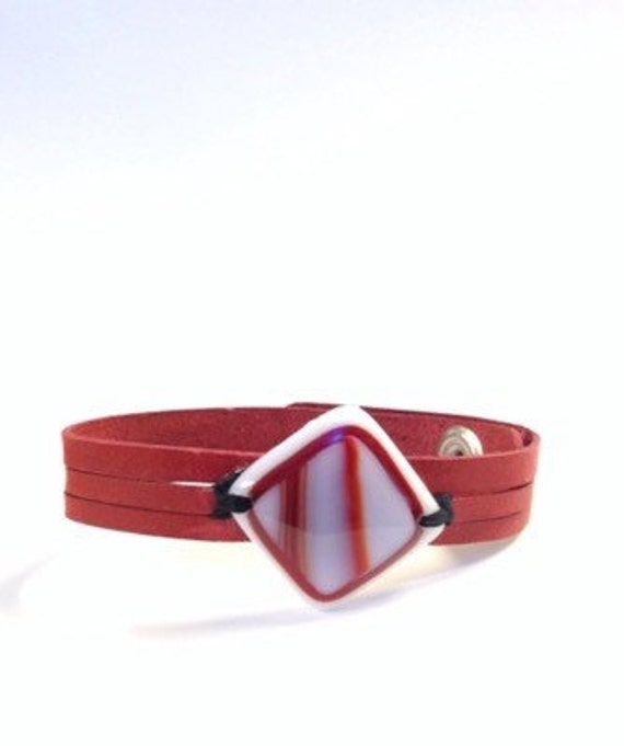 women  leather bracelet,  and diamond red fused glass , women jewelry red cuff bracelet handmade, made to order, leather bracelet