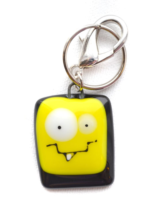 Colorful Keychain funny monster, handmade fused glass , accessories , back-pack charm, key holder , colorful monster , handmade