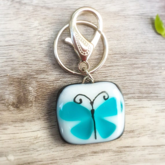 Beautiful butterfly , handmade fused glass keychains, key holder