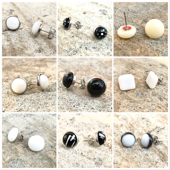 ready to ship Stud earrings, small white fused glass earrings studs, small stud earrings, stainless steel