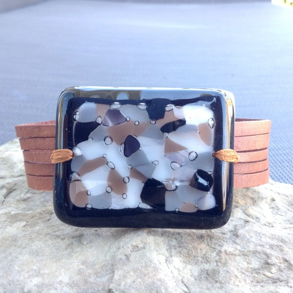 Large brown leather bracelet and fused glass, women jewelry cuff bracelet, fused glass brown and black statement jewelry