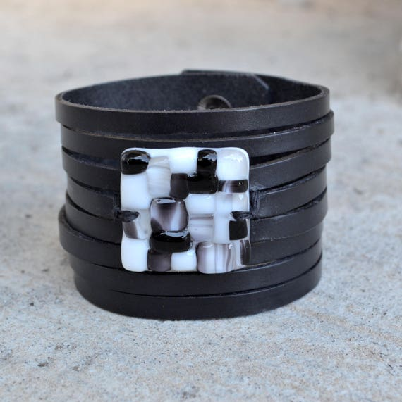 genuine leather cuff bracelet, large black leather strand  bracelet and fused glass, women jewelry