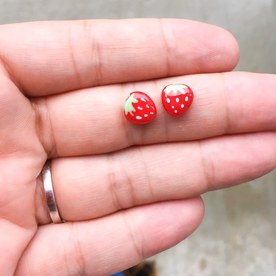 little cute strawberry stud earrings, small earrings studs, small stud earrings 6mm