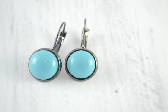 little turquoise round dangle earrings, small earrings stainless steel, boucles d'oreilles