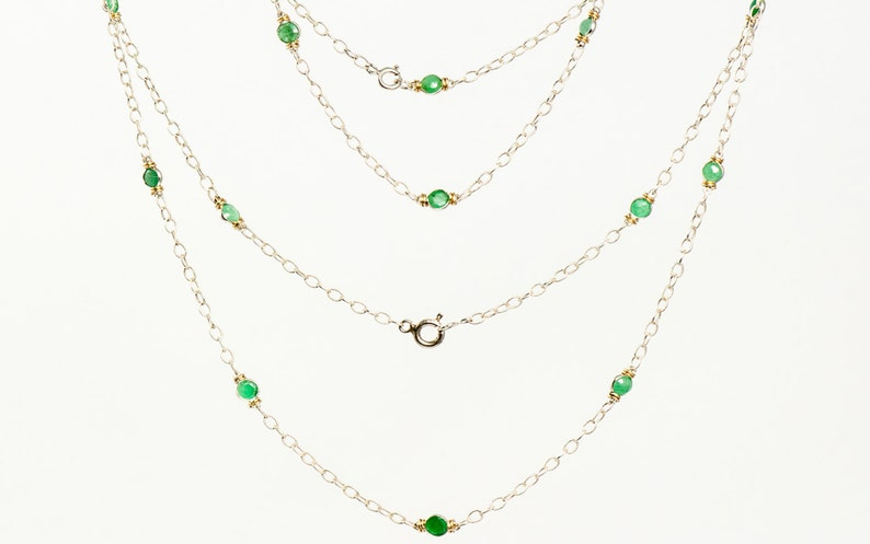 3cb07da5436aa 14k Gold and Silver Two-Tone Genuine Emerald Necklace shown w Bracelet and  Ring (sold seperately)