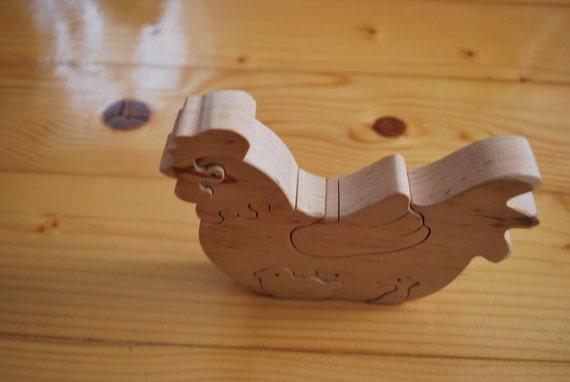 Chicken Hen with chicks Wooden chicken Wooden handmade toys Eco friendly toy