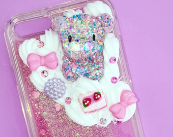 IPhone 6 / 6S case cute kawaii bear with moving glitters