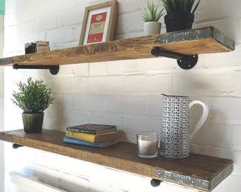 Scaffold Board Wall Shelf with Steel Pipe Brackets & End Bands | Wall Shelves Bookshelves Wood Industrial Rustic Reclaimed Scaffolding Pine