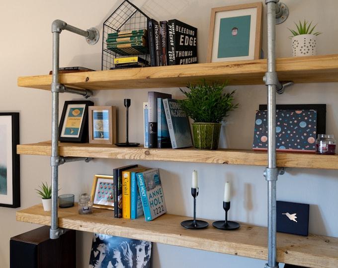 Scaffold Board Wall Shelf Unit, Bookcase, Bookshelves on Steel Tube Frame, Industrial, Rustic, Reclaimed Style