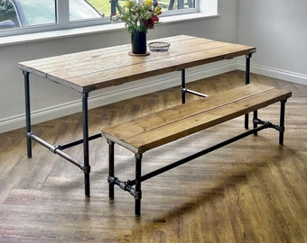 Scaffold Board Dining Table & Bench Set on Steel Tube Pipe Legs, Rustic, Industrial, Reclaimed Style