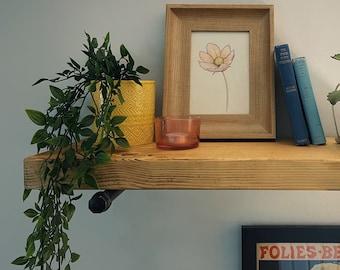 Scaffold Board Wall Shelf, Steel Pipe Brackets, Bookshelves Industrial Rustic Reclaimed Style
