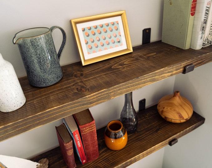 Scaffold Board Wall Shelf on Steel Brackets, Bookshelves, Industrial Rustic Reclaimed Style