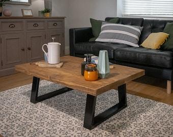 Industrial Scaffold Board Coffee Table on Trapezium Steel Box Section Legs Rustic Wood Farmhouse Scaffolding Side Table