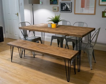 Industrial Scaffold Board Dining Table & Bench Set on Hairpin Legs | Reclaimed Rustic Wood Scaffolding, Kitchen, Desk