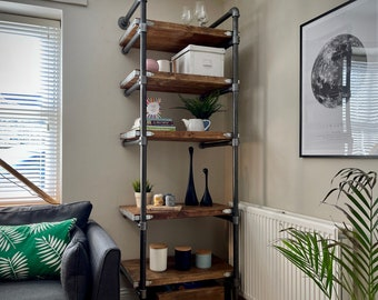 Handmade Scaffold Board Shelving Unit Bookcase Bookshelves on Steel Tube Frame | Wood Timber Industrial Reclaimed Rustic Wall Cabinet