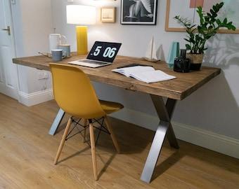 Scaffold Board Desk, X Frame Steel Legs | Industrial Rustic Reclaimed Style