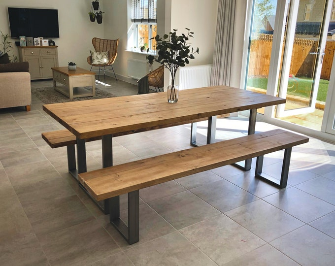 Rustic Scaffold Board Dining Table & Bench Set on Square Steel Legs, Industrial Reclaimed Style