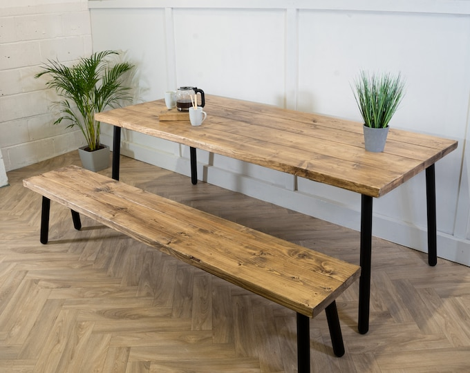 Scaffold Board Dining Table & Bench Set on Black Steel Tube Round Pin Legs | Industrial  Reclaimed Rustic Wood Scaffolding, Kitchen, Desk