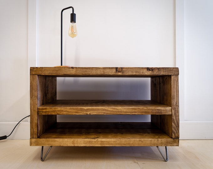 Scaffold Board TV Unit, Industrial Style Scaffolding TV Cabinet, Reclaimed Wood TV Stand Table, Sideboard on Hairpin Legs