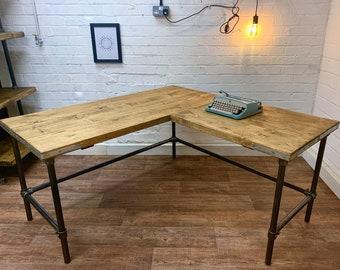 Rustic Scaffold Board CORNER DESK on Steel Pipe Legs, Steel tube, Industrial Reclaimed Style L Shaped Desk