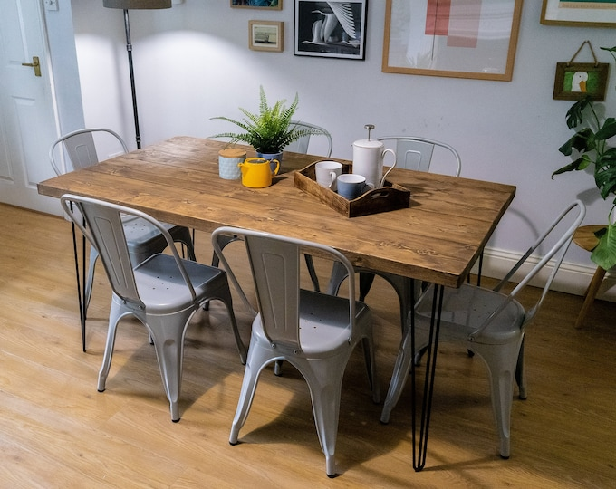 Industrial Scaffold Board Dining Table on Hairpin Legs | Reclaimed Rustic Wood Dining / Kitchen Table | Scaffolding Desk
