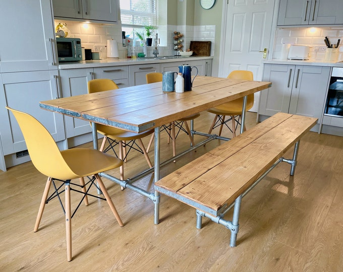 Industrial Scaffold Board Dining Table & Bench Set on Galvanised Steel Tube Pipe Legs | Rustic Kitchen Table Desk Reclaimed Wood Scaffolding