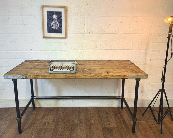 Rustic Scaffold Board Desk on Steel Tube Legs, Industrial Reclaimed Style Handmade Office Furniture