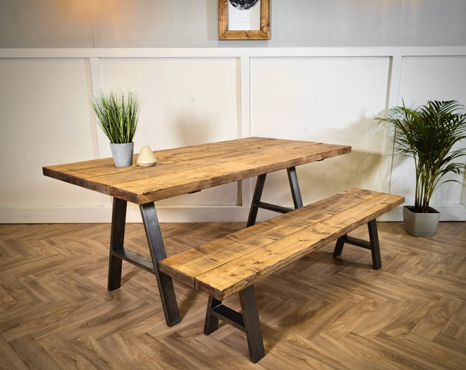 Scaffold Board Dining Table & Bench Set, A Frame Steel Legs, Rustic, Reclaimed, Industrial Style