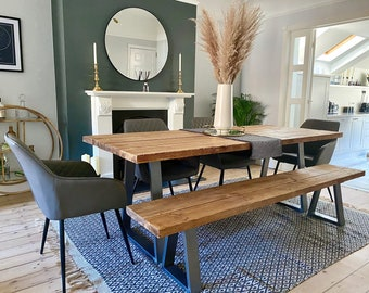 Rustic Scaffold Board Dining Table & Bench on Steel Trapezium Legs, Industrial Reclaimed Style