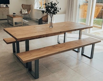 Industrial Scaffold Board Dining Table & Bench Set on Square Steel Box Section Legs | Reclaimed Rustic Wood Scaffolding, Kitchen, Desk