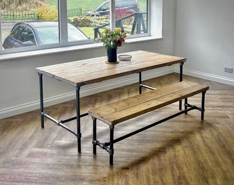 Industrial Scaffold Board Dining Table & Bench Set on Steel Tube Pipe Legs | Rustic Kitchen Table Desk Reclaimed Wood Scaffolding