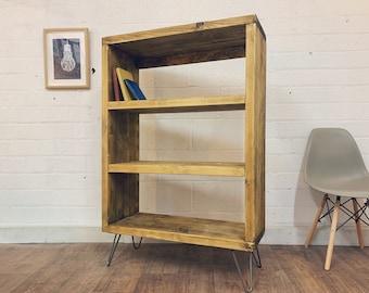 Industrial Scaffold Board Record Cabinet | Hairpin Legs | Rustic Vinyl Storage Shelves | Reclaimed Wood Bookcase Bookshelves Shelf Unit