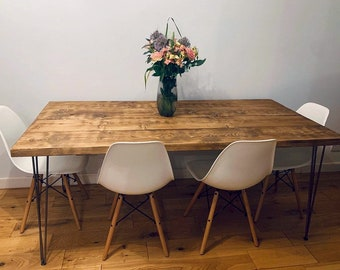 Industrial Scaffold Board Dining Table on Hairpin Legs | Reclaimed Wood Dining Table | Scaffolding Desk