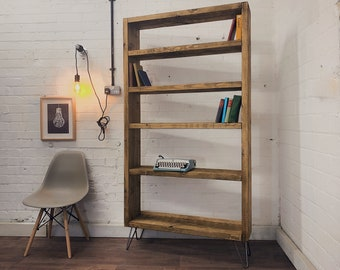 Industrial Scaffold Board Bookcase Bookshelves on Hairpin Legs | Wood Timber Reclaimed Rustic Pine Vintage Wall Cabinet Shelving Shelf Unit