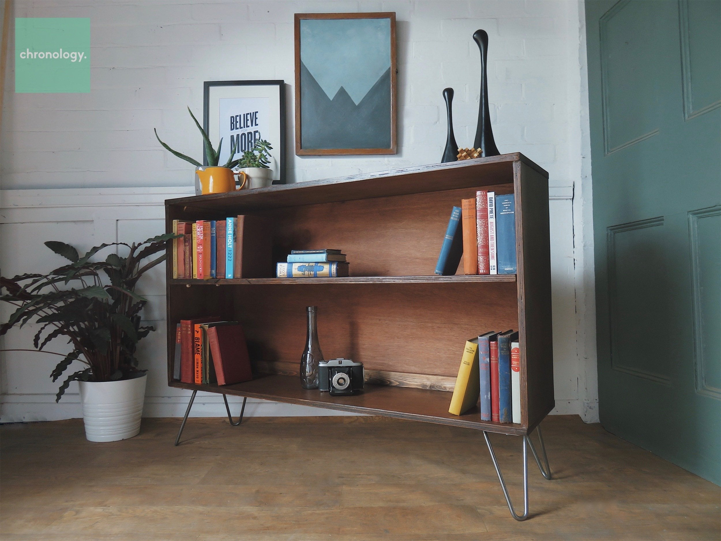 Teak Bookcase On Hairpin Legs Retro Style Plywood Cabinet Brand New Mid Century Style Sideboard