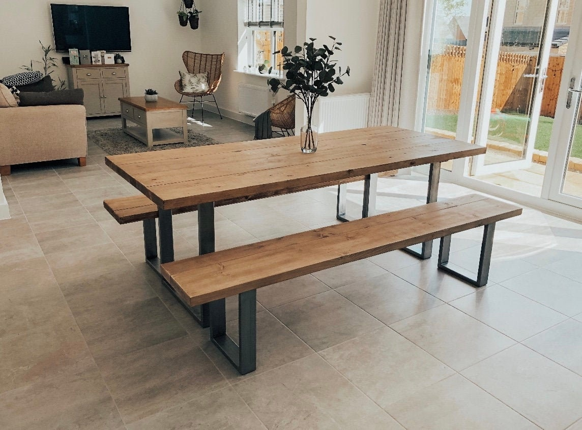 Industrial Scaffold Board Dining Table & Bench Set on Square Steel Box  Section Legs   Reclaimed Rustic Wood Scaffolding, Kitchen, Desk