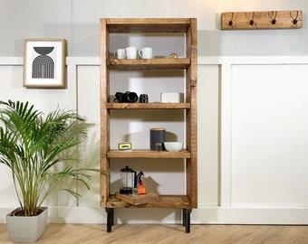 Rustic Scaffold Board Bookcase on Steel Tube Legs, Industrial, Reclaimed Style Bookshelf Unit