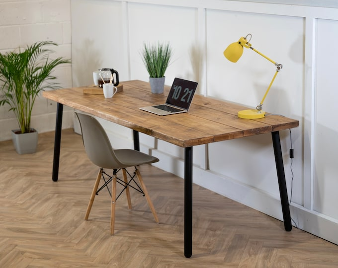 Scaffold Board Desk on Black Steel Tube Round Pin Legs Rustic Reclaimed Industrial Timber Wood Mid Century Hairpin Desk Table Home Office