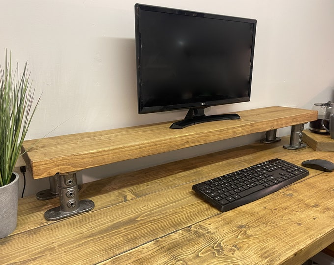 Scaffold Board MONITOR RISER on Steel Pipe Supports | Computer PC Stand Laptop Shelf | Desk Accessory | Rustic Reclaimed | Industrial Tube