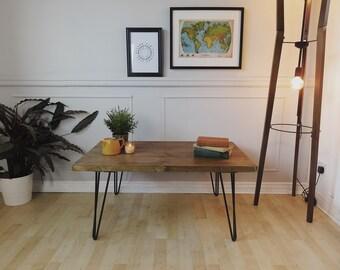 Industrial Scaffold Board COFFEE TABLE on Steel Hairpin Legs | Rustic Scaffolding Reclaimed Wood Timber Side Table