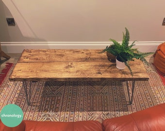 Industrial Scaffold Board COFFEE TABLE on Hairpin Legs | Rustic Reclaimed Scaffolding Wood Timber Side Table