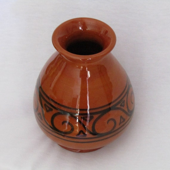 Vintage Greek Small Terracotta Vase Handmade Pottery Vase Etsy