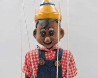 pinocchio wooden puppet, Vintage Pinocchio puppet, Pinocchio decoration, nursery decor, pinocchio vintage, pinocchio wooden, pinocchio doll.