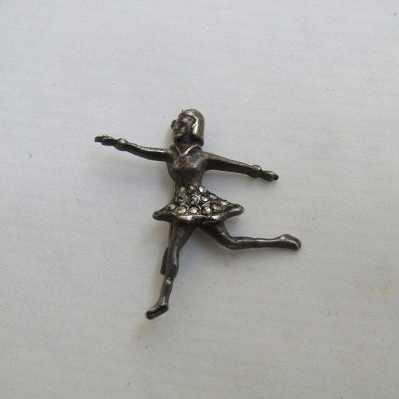 silver ballerina brooch, Vintage ballerina brooch,