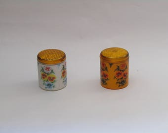 two Vintage plastic kitchen containers with beautiful floral decoration, 80's - kitchen canister set -kitchen canisters - vintage decor