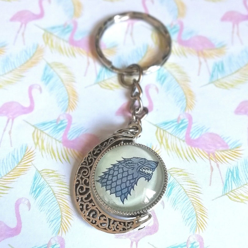 House Stark Winter is Coming. Winter is Coming Keyring Game of Thrones Keychain Stark spinning setting