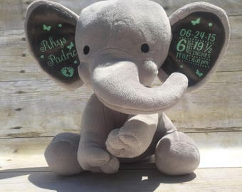 birth stat elephant etsy