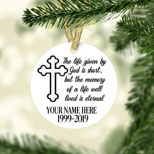 Personalized Memorial Keepsake Ornament Bereavement Ornament Etsy
